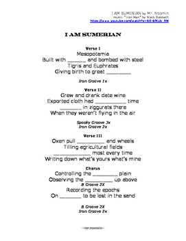 MESOPOTAMIA / SUMERIA lyrics and worksheets for online music video