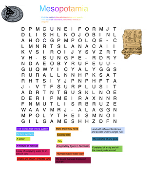 Mesopotamia word search- definition