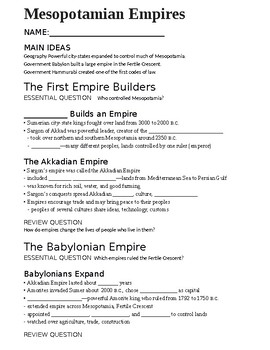 Mesopotamian Empires Student Handout
