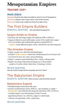 Mesopotamian Empires Teacher Handout