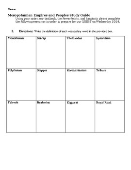 Mesopotamian Empires and Peoples Study Guide