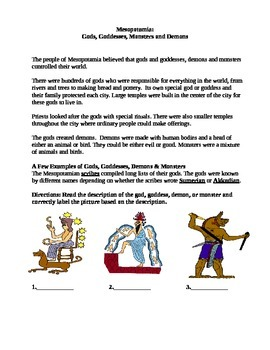 Mesopotamian Gods Creation Myth Multiple Choice