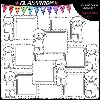 Message Board Boys Clip Art - Kids Frames Clip Art