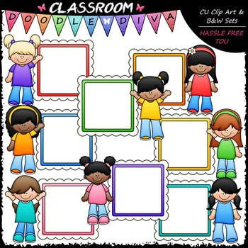 Message Board Girls Clip Art - Kids Frames Clip Art