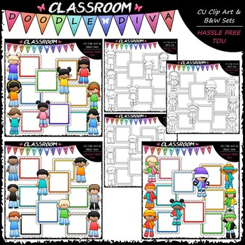 Message Board Kids Clip Art & B&W Bundle (3 Sets)
