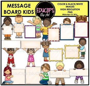 Message Board Kids Clip Art Bundle {Educlips Clipart}