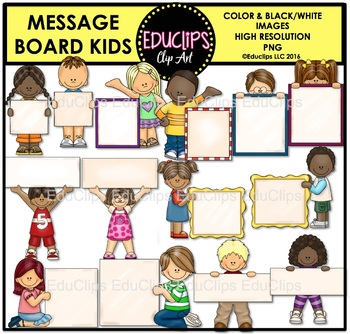Message Board Kids Clip Art Bundle {Educlips Clipart}