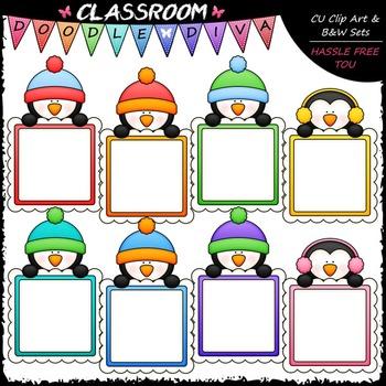 Message Board Penguins Clip Art - Penguin Frames Clip Art