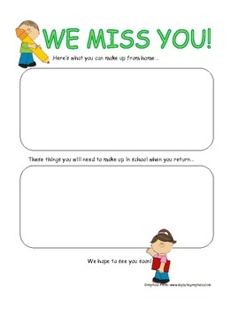 Message Sheet for Absent Student