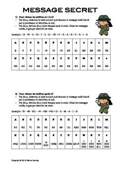 Message codé! Reviser les nombres et l'alphabet en francais