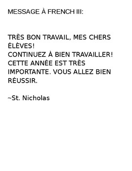Message from St. Nicholas to students-Level III