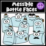 Message in a Bottle Faces Clipart