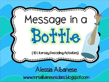Message in a Bottle - Literacy Decoding Activities