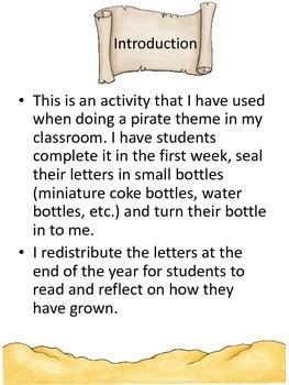 Message in a Bottle Pirate beginning of the year writing