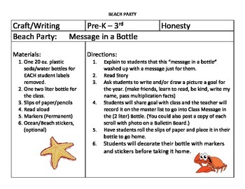 Message in a Bottle: Setting Goals K - 3rd