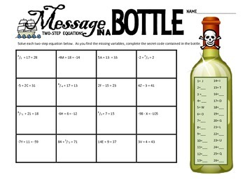 message in a bottle solving two step equations by math maniacs tpt