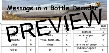 Message in a Bottle - Understand Word Problem Keywords & Geometry Symbols
