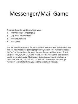 Post Office/Messenger and Mail Rhythm Game: 3/4 Meter Version