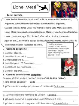 Messi - Reading Comprenhension