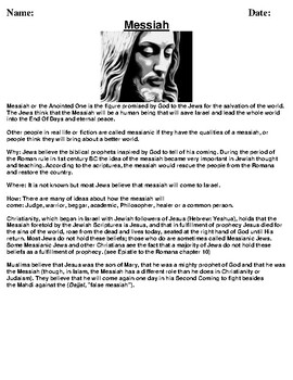 Messiah Handout/Article and Assignment