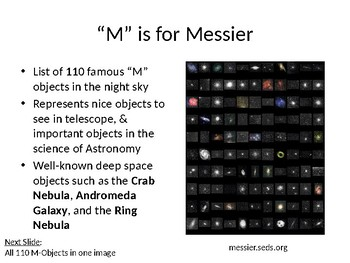 Messier's Galaxies, Clusters & Nebulae (Astronomy Teaching Slides)