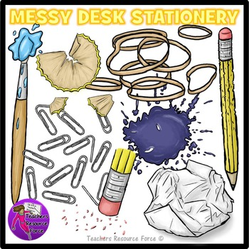 Messy Desk: Stationery School Supplies Clip Art clipart
