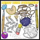 Messy Desk: Stationery School Supplies Clip Art clipart