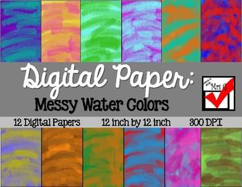 Messy Water Color Digital Paper