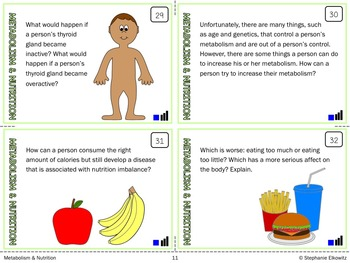 Metabolism and Nutrition Task Cards (Differentiated and Tiered)