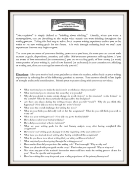 Metacognition- Essay Reflection Guide