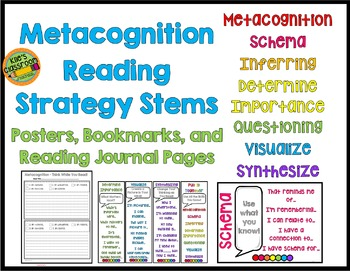Metacognition Reading Strategy Stems Bookmarks, Posters, Journal Logs
