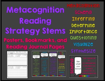 Metacognition Reading Strategy Stems Bookmarks, Posters, and Journal Logs