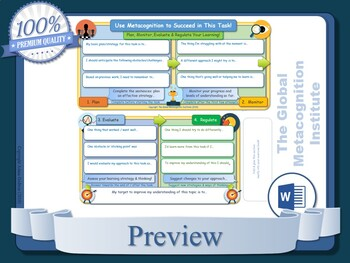 Metacognition - The Best Metacognition Worksheets