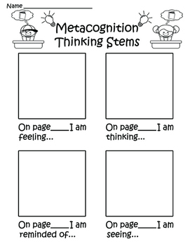 Metacognition Thinking Stem Response Sheets