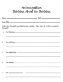 Metacognition Thinking Stems
