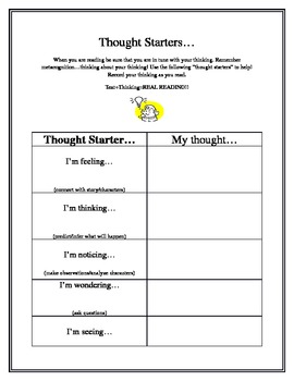 Metacognition: Thought Starters/Thinking Stems