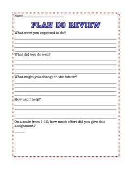 """Metacognitive Evaluation for Students:  """"Plan Do Review"""" and """"My Homework Plan"""""""
