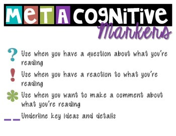 Metacognitive Markers Anchor Chart - Close Reading