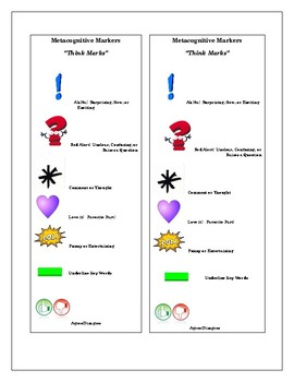 """Metacognitive Markers Book Mark  - """"Think Marks"""""""
