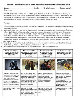 Metacognitive Reflection for Multiple Choice Assessments