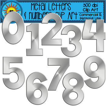 Metal Alphabet and Numbers Clip Art