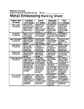 Metal Embossing Marking Sheet
