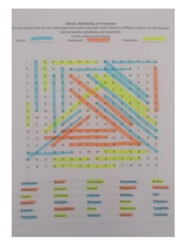 Metal, Metalloid, or Nonmetal Word Search - Color-Coded