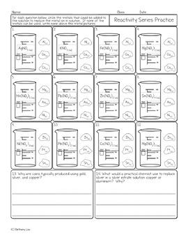 Metal Reactivity Series Chemistry Homework Worksheet