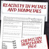 Metal and Nonmetal Reactivity Periodic Table Trends Homework Worksheet
