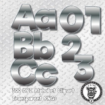 Metallic Alphabet Alpha Clip Art