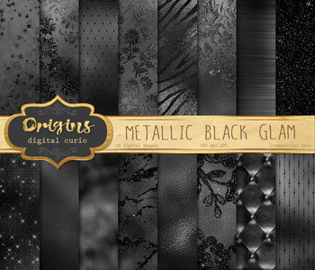 Metallic Black Glam Digital Paper, glitter backgrounds, metal foil textures