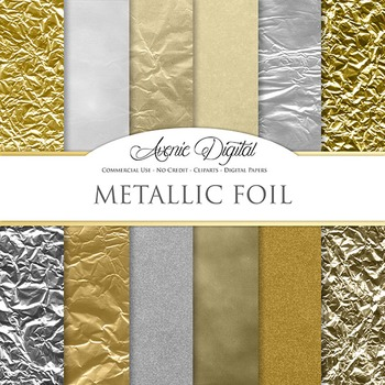 Metallic Foil Textures Background Digital Paper scrapbook gold and silver