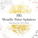 Metallic Paint Splatters Clipart Bundle