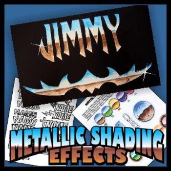 Metallic Shading Name Emblem Art Project - Colored Pencil Techniques